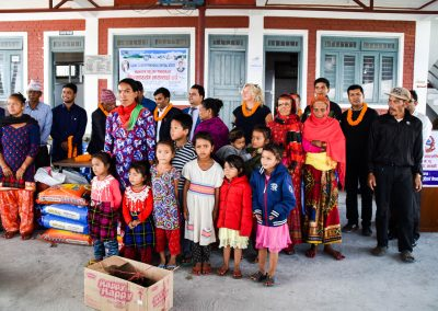 Dashain gifts.  Parents and grandparents and kids in their new clothes