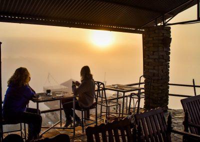 Sunrise coffee at Himalayan cafe at the world Peace Pagoda