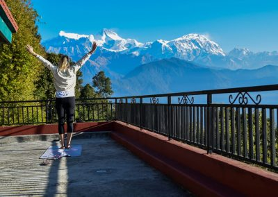 Yoga with a view (from Super View in Sarangkot)