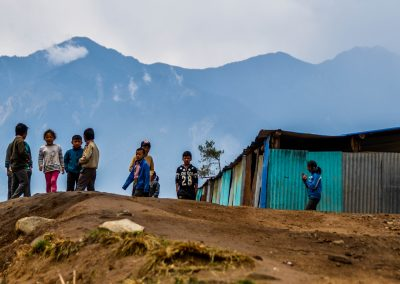 Kids waiting for our arrival at the Shree Nurbuling Secondary School in the village of Kharkadanda, Helambu