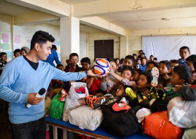 Clothes donation at Nurbuling school.  But the football was probably most popular