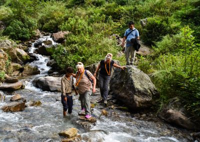 Any trek in Nepal involves crossing several rivers.  Luckily the boys built stepping stones for us