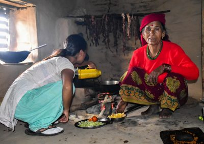 Grandmother cooking dinner