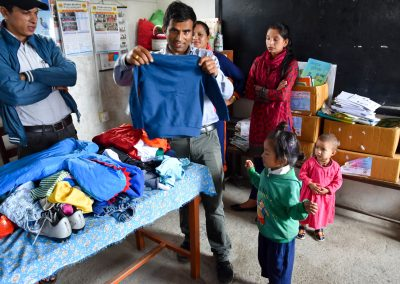 Clothes donations to all the kids at the school